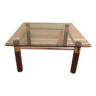 1960's Italian Chrome, Glass & Walnut Coffee Table