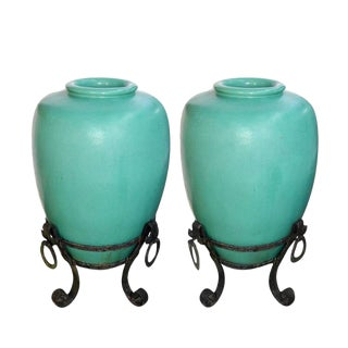 American Glazed Pottery Water Urns - A Pair