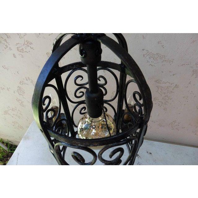 Art Deco Iron Chandelier Lantern - Image 4 of 4