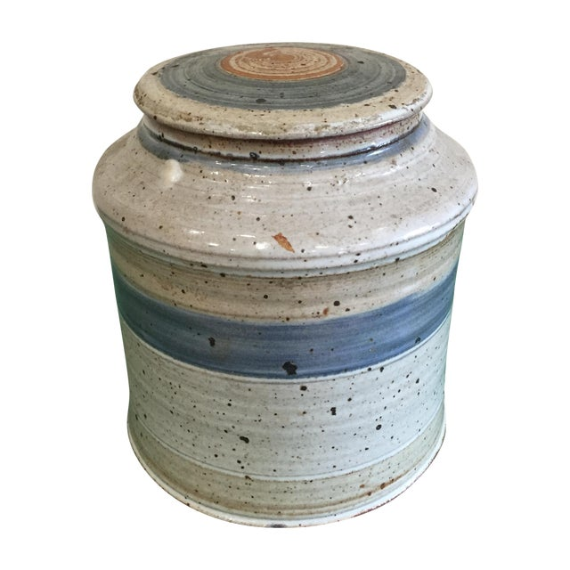 Hand Thrown Earthenware Cookie Jar - Image 1 of 6
