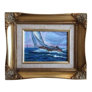 Vintage Sailboat Oil Painting