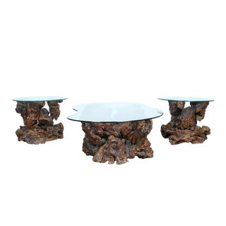 Tree Trunk Side Tables and Coffee Table - Set of 3