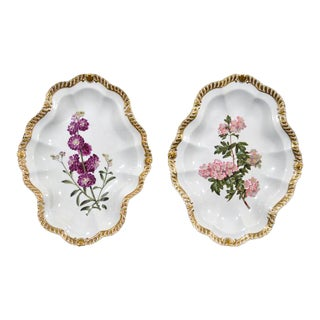Chamberlain Worcester Porcelain Botanical Dishes - A Pair
