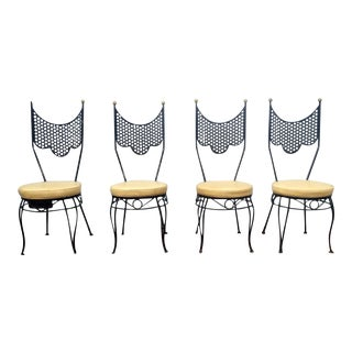 Vintage High Back Metal Chairs - Set of 4