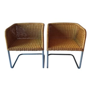 Harvey Probber Style Wicker & Chrome Chairs - a Pair