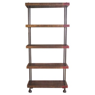 Industrial Wood, Steel (Pipe) Cast Iron Shelving / Storage Unit