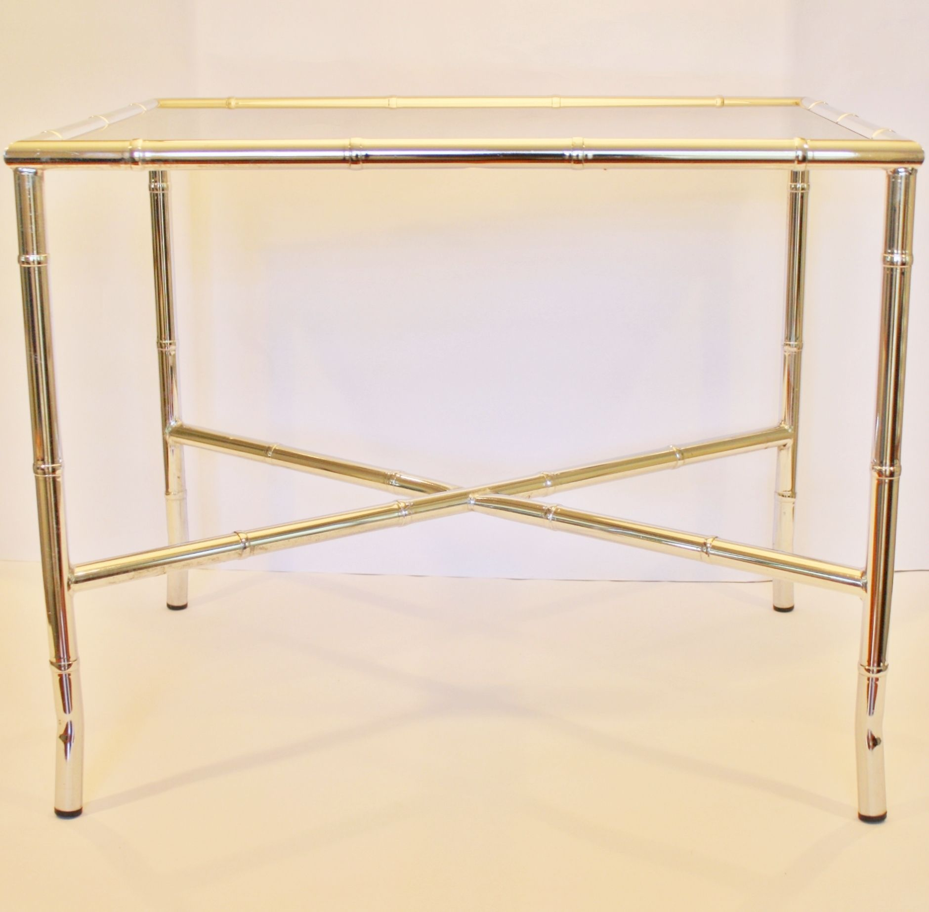 Chrome Faux Bamboo End Table With Smoked Glass Top   Image 3 Of 5