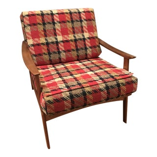 Mid-Century Plaid Accent Chair