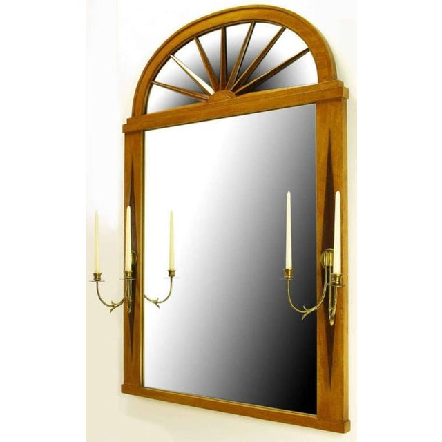 Grosfeld House Sunburst Top Mirror with Integral Brass Sconces - Image 2 of 7