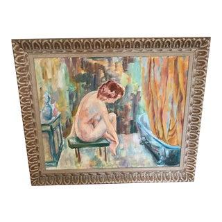 """Vintage Feminine Framed Oil Painting - 36"""" x 30.5"""""""
