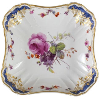1900 Kpm Porcelain Hand Painted Square Serving Bowl
