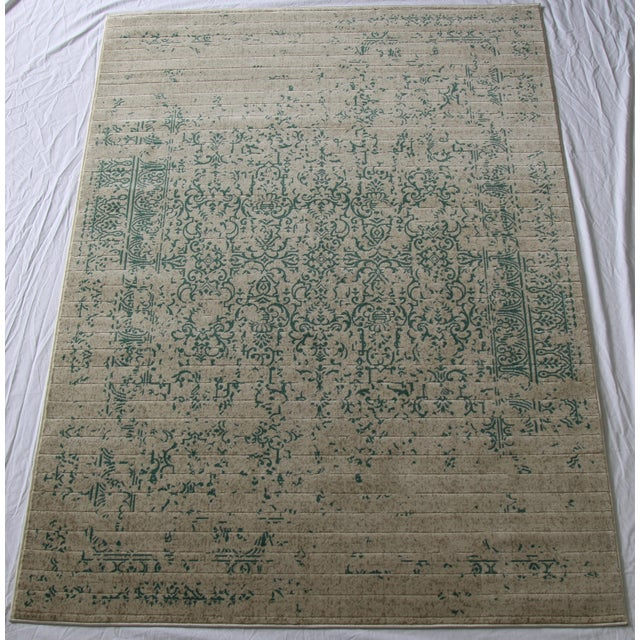 "Teal Distressed Patterned Rug - 8'x10'7"" - Image 2 of 7"