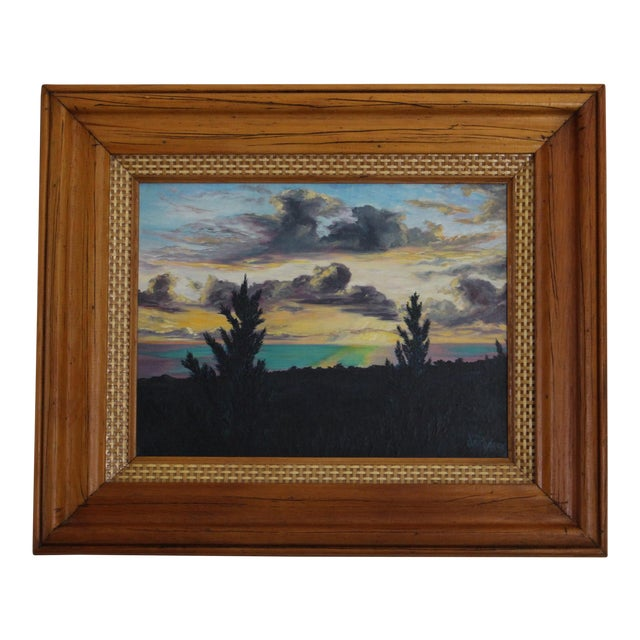 John De Ponce Hawaiian Sunset Landscape Painting - Image 1 of 11