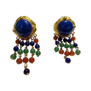 Byzantine-Style Goldtone & Lapis Earrings