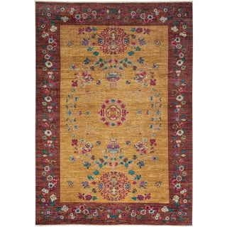 """Suzani, Hand Knotted Area Rug - 6' 2"""" x 8' 9"""""""