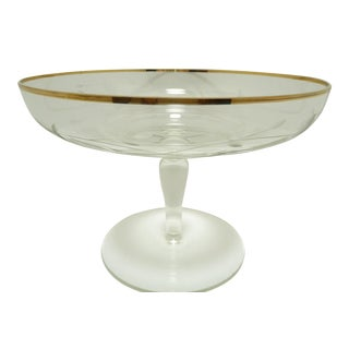 Antique Gold Trimmed Etched Crystal Compote