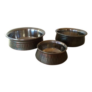 Vintage Tera Hammered Copper Bowls - Set of 3