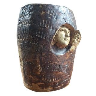 Studio Pottery Emerging Face Planter or Sculpture