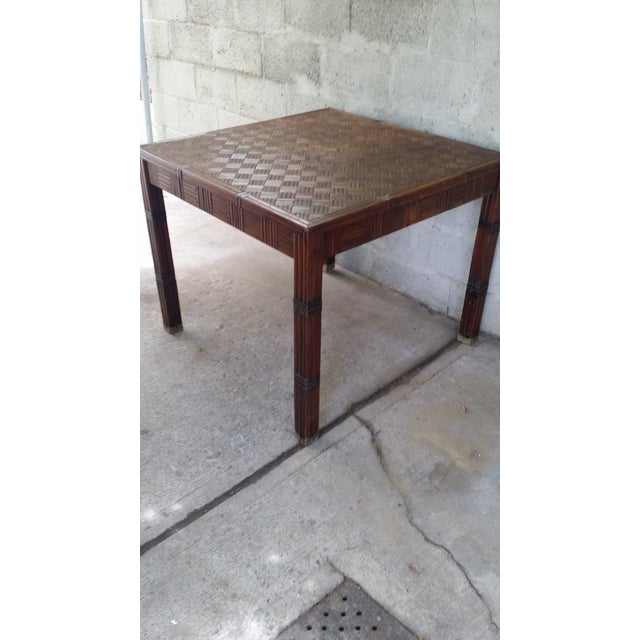 Tessellated Bamboo & Wood Dining Table - Image 3 of 6