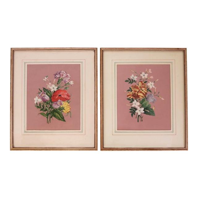 Vintage 1940s Pink Floral Bouquet Botanicals - Pair - Image 1 of 5