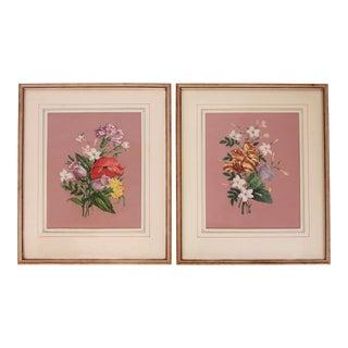 Vintage 1940s Pink Floral Bouquet Botanicals - Pair