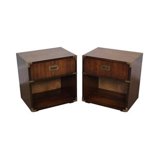 Vintage Campaign Style Walnut Nightstands - A Pair