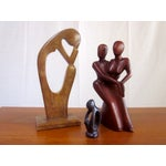 Image of Abstract Wood Stone Torso Sculptures - Set of 3