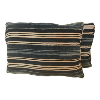 Indigo Cloth Striped Pillows - A Pair