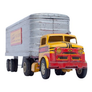 Red Yellow and Silver Vintage Truck Photograph
