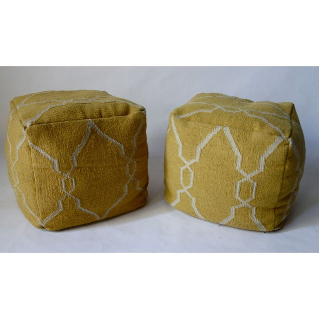 Yellow Dhurrie Poufs -Pair - Image 2 of 5