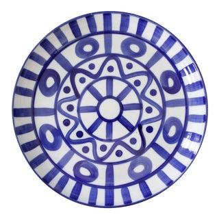 Large Dansk Arabesque Ceramic Serving Platter Tray Round Blue White Mid Century