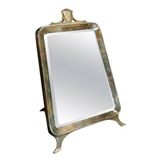 Table Mirror in Silver, Italy, 1940s with Walnut Back