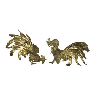 Italian Brass Fighting Roosters - A Pair