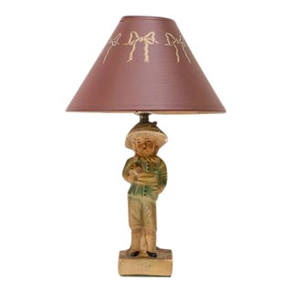 French Boy Chalkware Figure Small Lamp