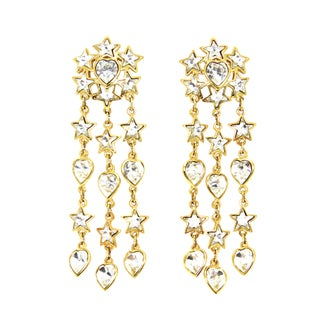 Yves St Laurent Heart & Star Long Earrings