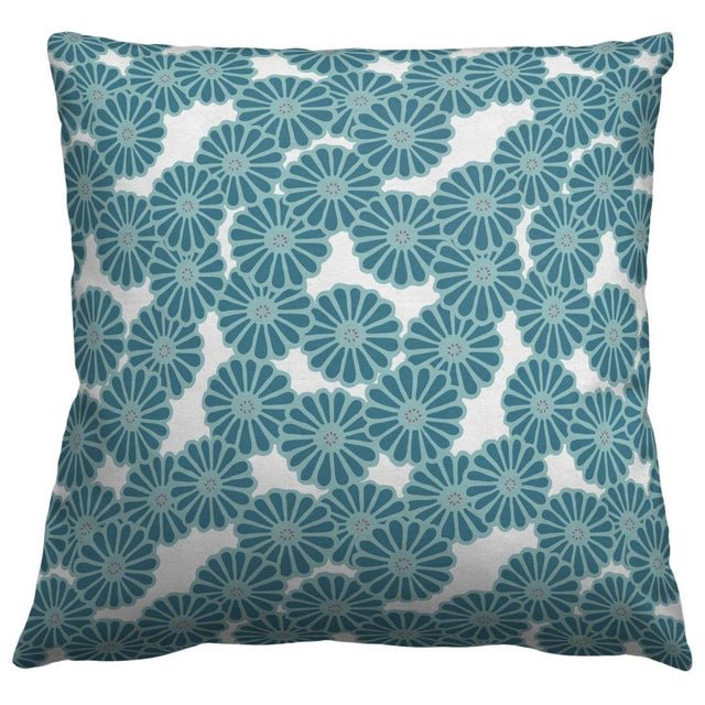 Turquoise Pinwheel Flower Throw Pillow - Image 1 of 2