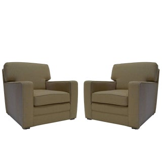 Handsome Pair of Newly Upholstered Art Deco Modernage Lounge Chairs