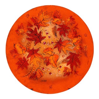 Sascha Brastoff Mid-Century Orange Leaves Enamel Charger
