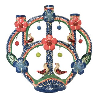 Mexican Tree of Life Pottery Candelabra