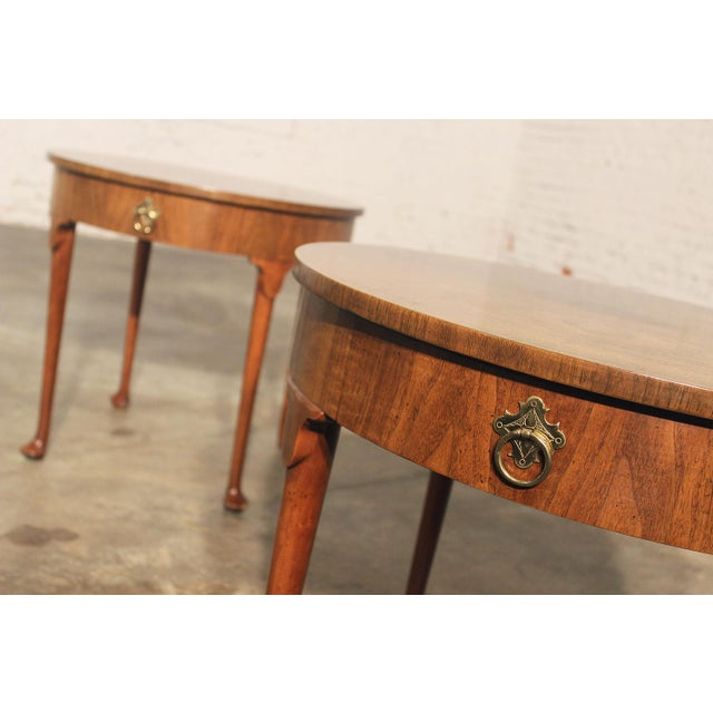 Baker Coffee Table Round: Baker Georgian Old World Round End Tables - Pair