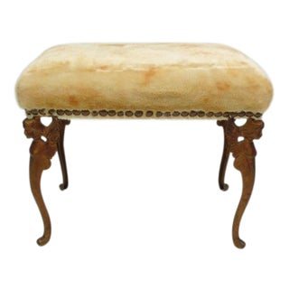 Vintage Gold Cast Shearling Ottoman