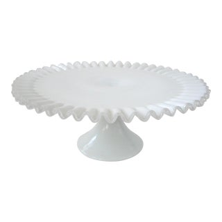 Fenton Milk Glass Silvercrest Cake Stand