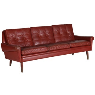 Mid-Century Red Leather Sofa