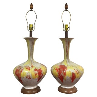 Mid-Century Yellow & Red Table Lamps - A Pair