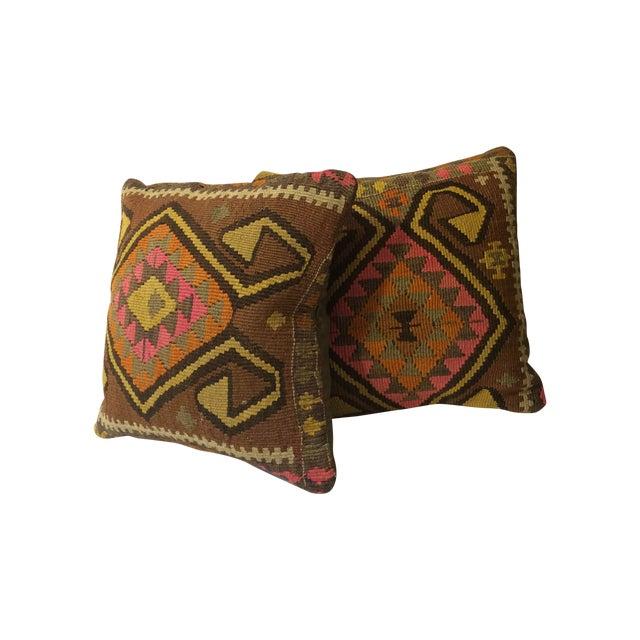 Antique Turkish Kilim Pillows - Pair - Image 1 of 8