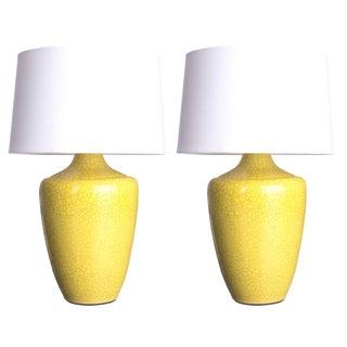 "Yellow Crackle Finish ""Snap"" Lamp - Pair"