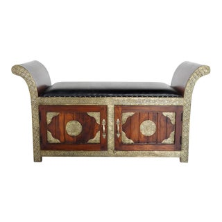 Handmade in India Brass Inlaid Bench With Storage