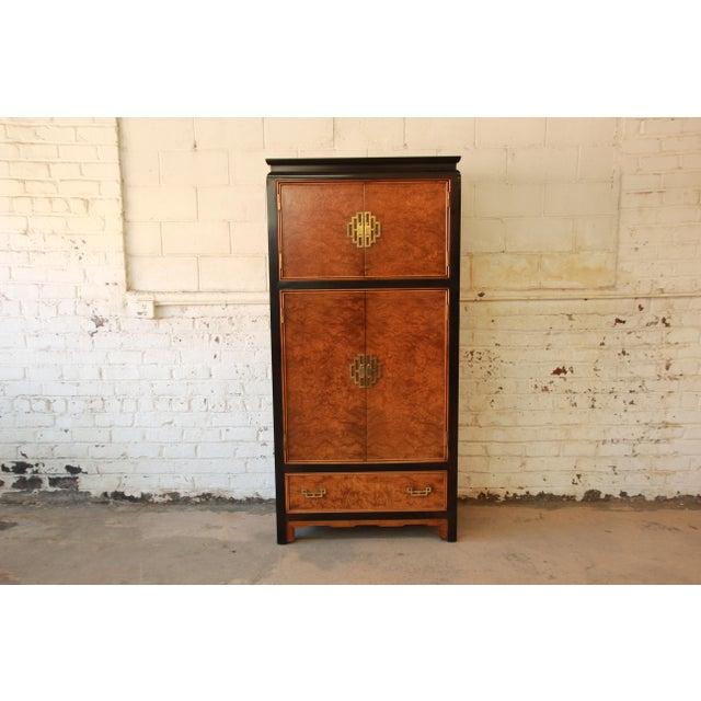 Image of Century Furniture Black Lacquer & Burlwood Armoire
