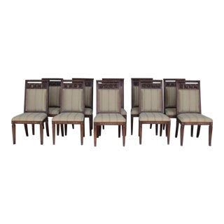 Henredon Carved Wood & Upholstery Dining Chairs - Set of 10
