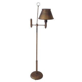 Aged Brass Tole Floor Lamp